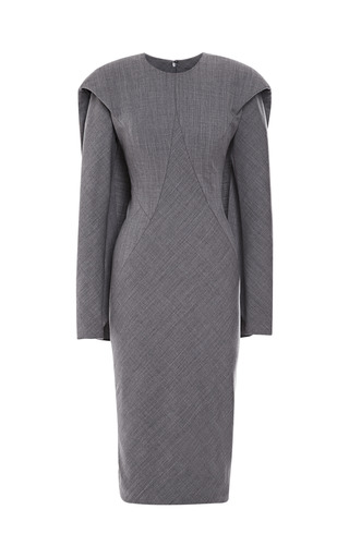 Medium zac posen dark grey cool wool cape back dress