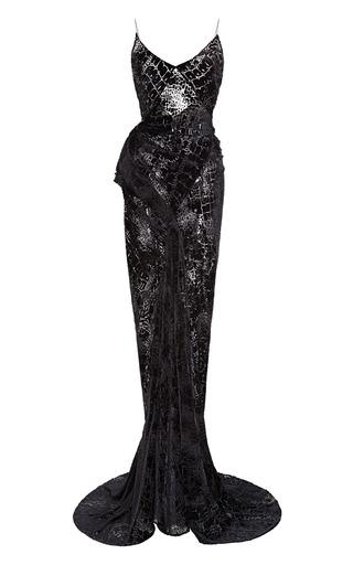Medium zac posen black velvet burnout open back gown