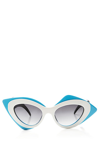 Medium linda farrow white prabal gurung cat eye acetate sunglasses 2