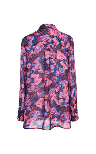 Floral Printed Georgette Side Draped Shirt by THAKOON ADDITION for Preorder on Moda Operandi