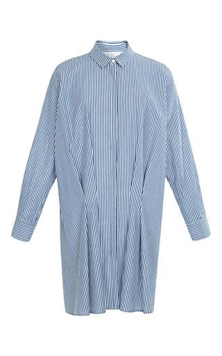 Medium thakoon addition white striped shirting tuck front shirtdress