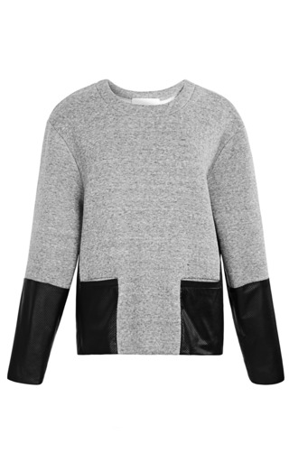 Medium thakoon addition dark grey leather pocket pullover sweatshirt