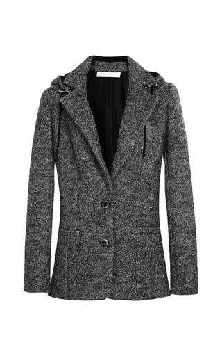 Medium thakoon addition dark grey solid wool hooded blazer