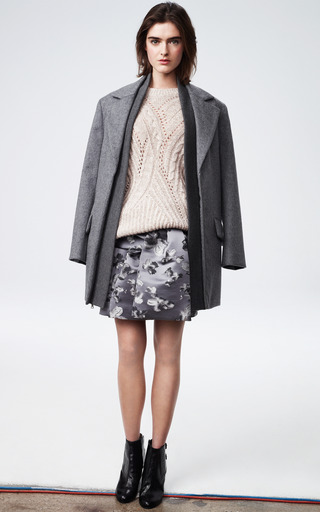 Floral Jacquard Tie Front Skirt by THAKOON for Preorder on Moda Operandi
