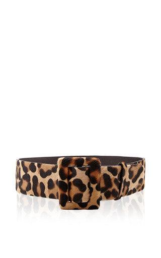 Printed Calf Hair Rectangular Buckle Belt by OSCAR DE LA RENTA Now Available on Moda Operandi