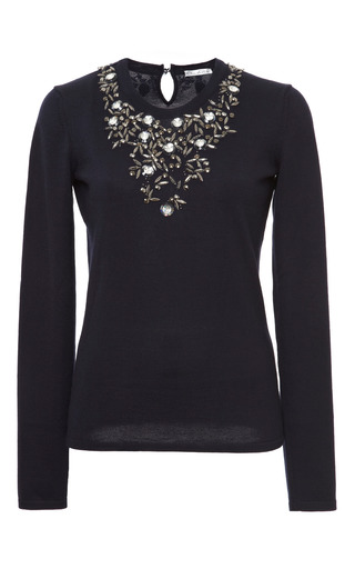 Medium oscar de la renta blue long sleeve jewel flower embroidered neck pullover
