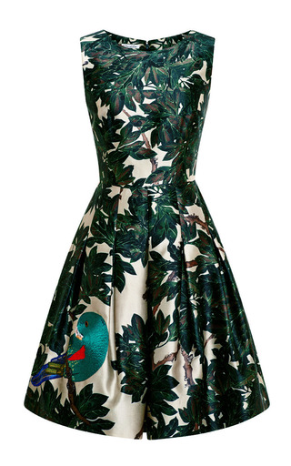 Medium oscar de la renta green sleeveless jewel neck dress with embroidered bird skirt self belt