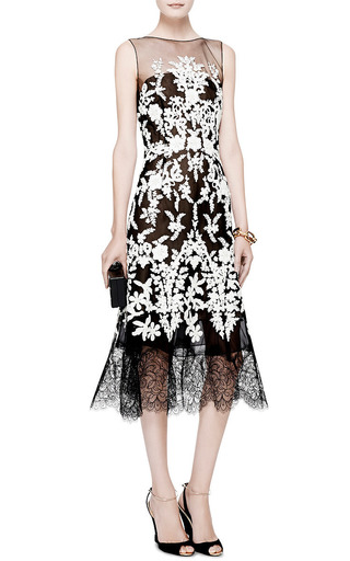Lace Trimmed Embellished Tulle Dress by OSCAR DE LA RENTA Now Available on Moda Operandi