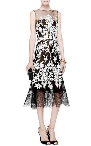 Lace Trimmed Embellished Tulle Dress by OSCAR DE LA RENTA Now Available on Moda Operandi