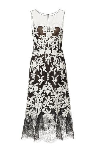 Medium oscar de la renta black sleeveless jewel neck cordwork embroidered dress