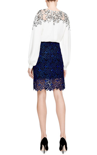 Lace Embroidered Silk Blouse by OSCAR DE LA RENTA Now Available on Moda Operandi