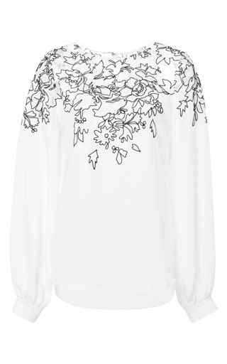 Medium oscar de la renta white long sleeve jewel neck lace embroidered blouse