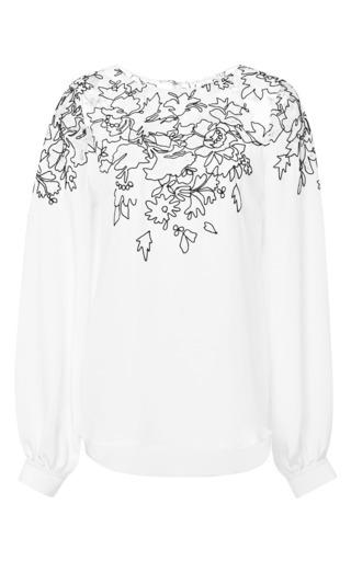 Medium oscar de la renta white long sleeve jewel neck lace embroidered blouse