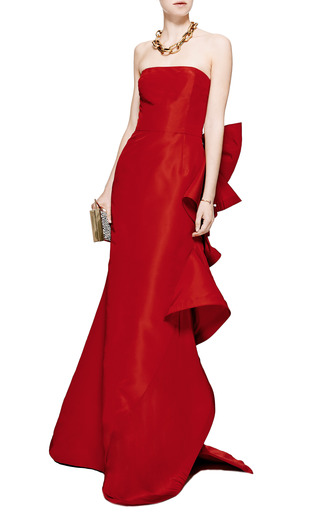 Strapless Ruffle Back Silk Gown by OSCAR DE LA RENTA Now Available on Moda Operandi