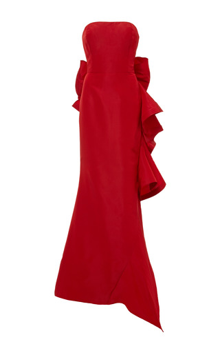 Medium oscar de la renta red strapless ruffle back silk gown