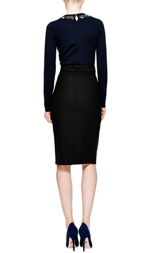 Pencil Skirt With Waist Detail by OSCAR DE LA RENTA Now Available on Moda Operandi