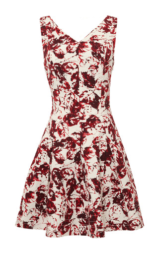 Medium oscar de la renta red sleeveless v neck cross back dress
