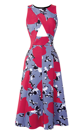 Medium thakoon black floral neoprene cut out dress