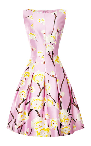 Medium oscar de la renta pink sleeveless bateau neck dress with full skirt in lilac