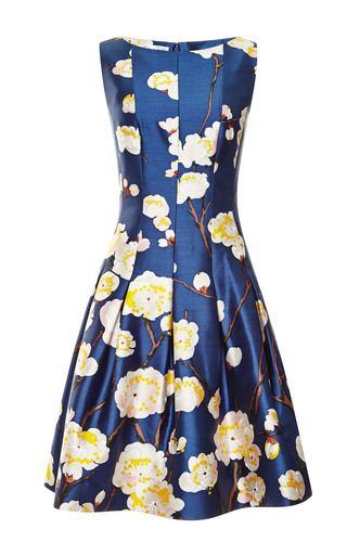 Medium oscar de la renta blue sleeveless bateau neck dress with full skirt in navy