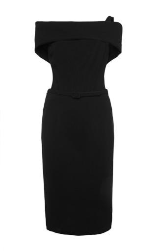 Medium oscar de la renta black off the shoulder drape neck pencil dress with self belt