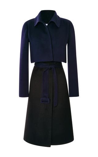 Medium oscar de la renta black long sleeve tromp loeil long coat with self sash