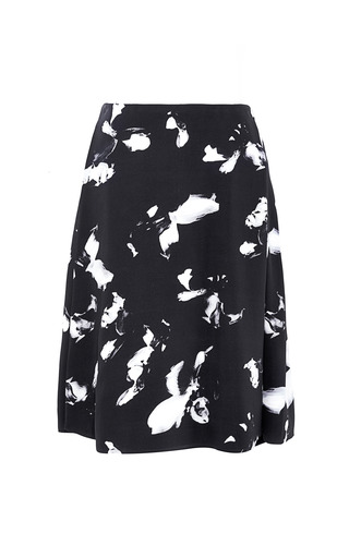 Medium thakoon dark grey abstract floral lace inset skirt