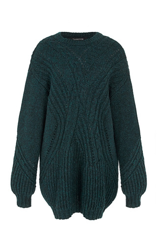 Medium thakoon green forest roving cabled knit crewneck tunic