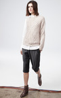 Oatmeal Roving Cabled Knit One Sleeve Pullover by THAKOON for Preorder on Moda Operandi