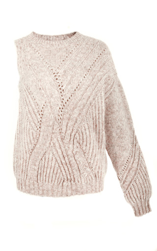 Medium thakoon brown oatmeal roving cabled knit one sleeve pullover
