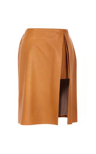 Medium thakoon brown leather pleated slit skirt