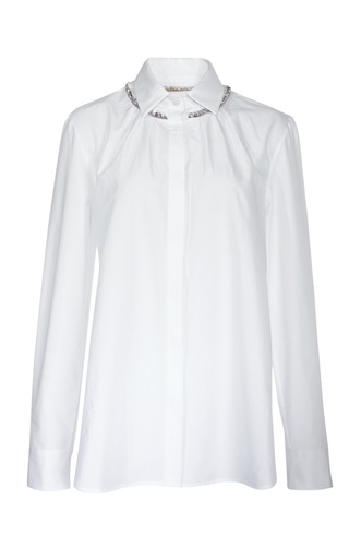 Medium thakoon white long sleeve jewel trim shirt
