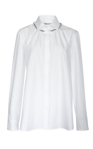 Medium thakoon white long sleeve jewel trim shirt