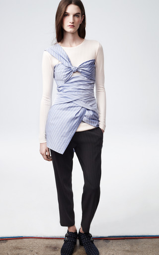 Striped Shirting Long Sleeve Wrap Dress by THAKOON for Preorder on Moda Operandi