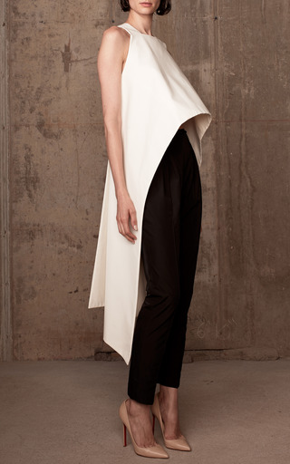 Cotton Faille Criss Cross Open Back Top by ROSIE ASSOULIN Now Available on Moda Operandi