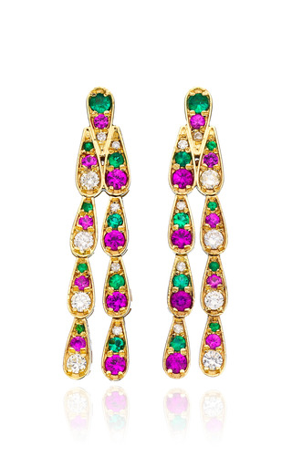 Medium sabine getty multi white gold earrings with white diamonds emeralds and pink sapphires