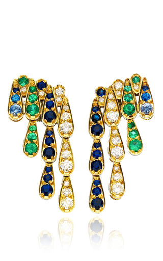 Medium sabine getty multi white gold earrings with white diamonds emeralds and blue sapphires