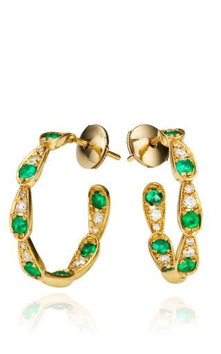 Medium sabine getty multi white gold earrings with white diamonds and emeralds
