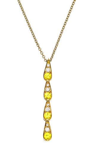 Medium sabine getty multi white gold pendant with white diamonds and yellow sapphires