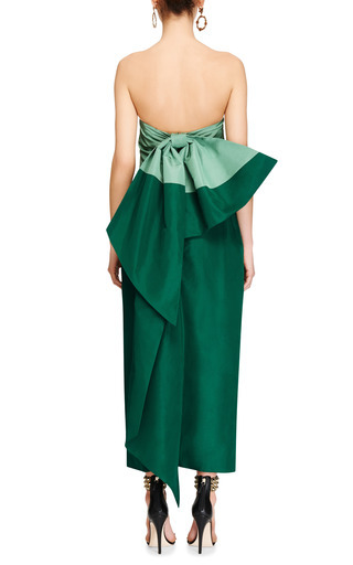Silk Faille Bow Back Dress by ROSIE ASSOULIN Now Available on Moda Operandi