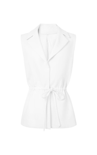 Exposed Back Wool Crepe Safari Vest by ROSIE ASSOULIN Now Available on Moda Operandi