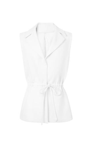 Medium rosie assoulin white exposed back wool crepe safari vest