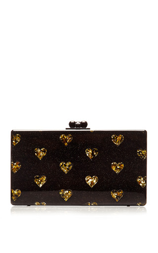 Medium edie parker brown jean hearts clutch
