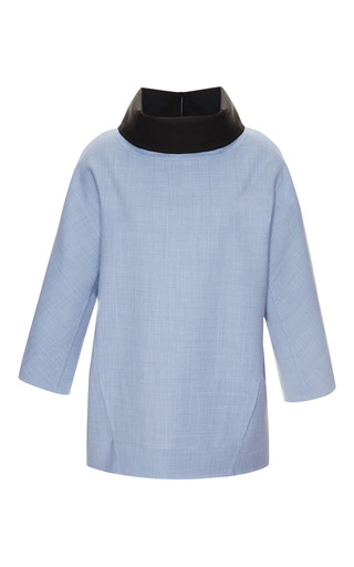 Medium carolina herrera blue blouse with funnel neck