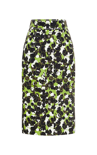 Camoflage Honeycomb Printed Skirt by CAROLINA HERRERA for Preorder on Moda Operandi