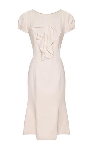 Medium carolina herrera white cap sleeve dress with ruffle detail