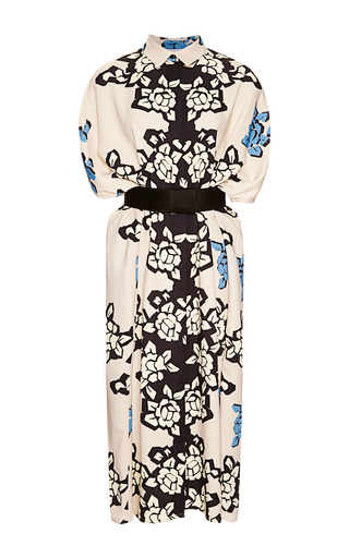 Medium carolina herrera white bordered floral print shirt dress