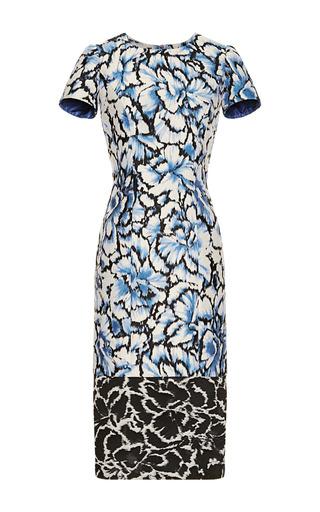 Medium carolina herrera dark grey floral printed sheath dress