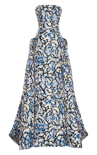 Medium carolina herrera dark grey floral printed ball gown