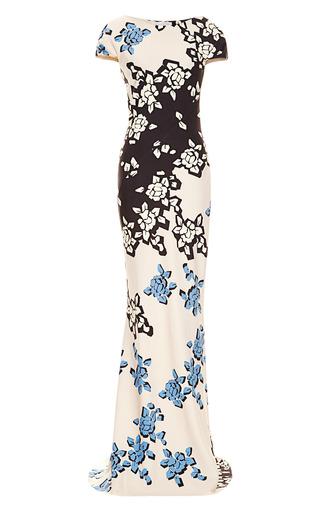 Medium carolina herrera white bordered floral print gown